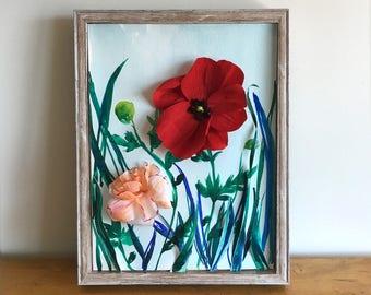 Wonderland I - 3D Paper Sculpture Diorama - Paper Flowers - Watercolor - Illustration - Garden - Poppy - Rose