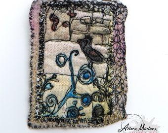 Cute Collectible Textile Art Pin - Bird Art Brooch - Customisation