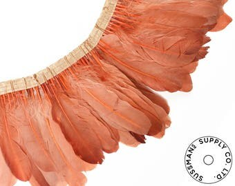 "Feather Trim - Goose Feather Satinette Fringe Trims - Peach - 5""-7"" (1 yard)"