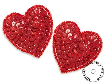 "Applique - Hologram Sequins Heart Applique - 2pcs (1.75""x2"")"