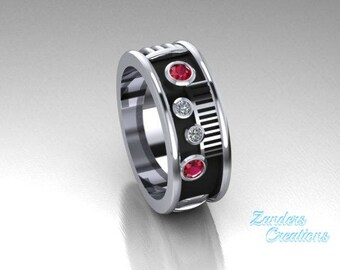 Saber Ring with a genuine ruby and diamonds set in 14k white gold