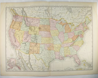 Antique Map North America Mitchell Map United States - 1896 map of us