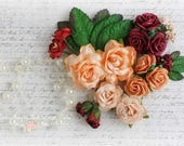 Mulberry Flower Assortment with Beaded Strand~ Set of 30~Summer Wine
