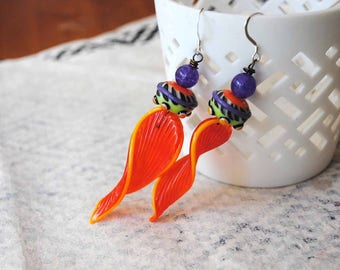 Funky Halloween Lampwork Earrings, Striped Earrings, Leaf Earrings, Modern Chic Jewelry, Orange Earrings, Purple Earrings, Unique Artisan