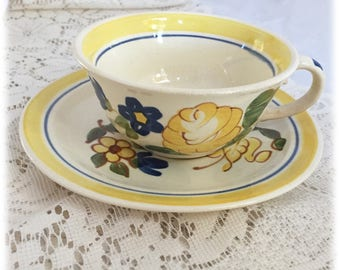 Red Wing China BRITTANY CUP & SAUCER Set, Yellow Rose Blue Flowers, Hand Painted, Cottage, Farmhouse