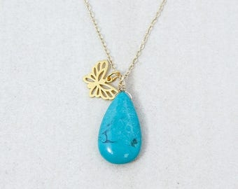 ON SALE Gold Natural Turquoise & Butterfly Charm Necklace - Boho Necklace - 14K Gf