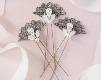 Wedding hair pins / bridal hair pins / bridesmaid hair pins / vintage hair pins / Vintage fan hair pins / set of 3