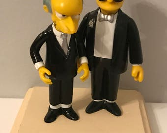 Simpsons gay wedding cake topper ~ Mr. Burns and Smithers ~ custom wedding cake topper