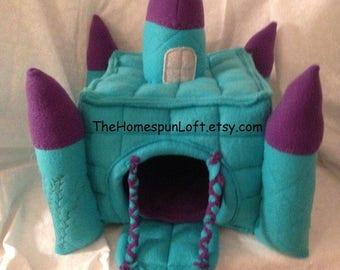 Castle Hidey House Hut for Guinea Pig Hedgehog Fleece Castle House with Drawbridge Made to Order Item Any Color Combo