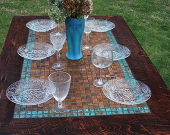 """RESERVED for Lucy  // Custom Dining Table, Copper Centerpiece, 40"""" w x 52"""" l x 30"""" t, Dark Brown Finish"""