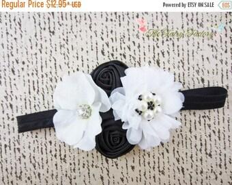 Black and White Headband, Satin Chiffon & Hydrangea Flowers w/ Rhinestones Pearls Headband or Hair Clip, Photo Prop, Child Girls Headband