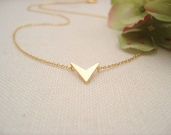 Tiny Chevron with Gold filled chain Necklace...V necklace, Simple everyday, layering, Delicate minimalist jewelry, wedding, bridesmaid gift