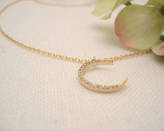 Crescent Moon with 14kt. Gold fill chain...Gold simple everyday, layering, Delicate minimal necklace, wedding, bridesmaid gift