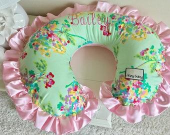 Watercolor Bouquet Mint & Pink Nursing Pillow Cover, Mint Boppy Cover, Watercolor Boppy Cover, Girl Nursing Pillow Cover, Pink Boppy Cover