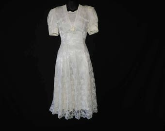 80s lace tea dress vintage ivory jessica mclintock lacy romantic wedding gown medium