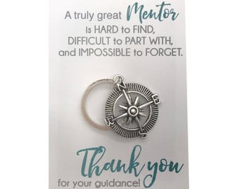 Professor gift etsy mentor gift silver compass key ring teacher appreciation carded gift with message gift negle Choice Image