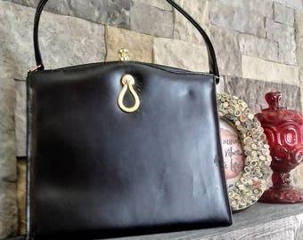 Vintage Black Kelly Top Handle Handbag by Aristocraft of Canada