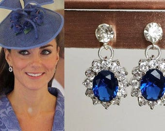 Kate Middleton Sapphire Blue Sterling Silver Halo Crystal Drop Earrings