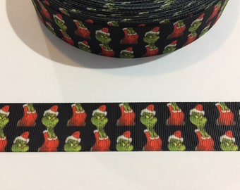 "3 Yards of 1"" Wide Ribbon - Christmas Grinch"