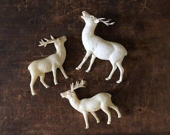 Vintage Celluloid Reindeer, Reindeer Figurines, Plastic Reindeer, Mid Century, Retro Christmas