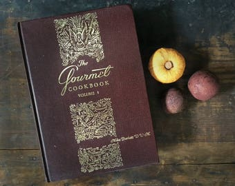 Vintage Gourmet Cookbook, Classic Recipes,  French Cooking, Hardcover Cookbook, Rustic Kitchen Decor