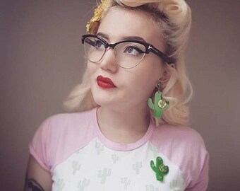 Cactus Sunset Paradise Earrings - Green/Gold - Rockabilly - Retro - Pinup - Vintage Style - Mid-century - 1950s