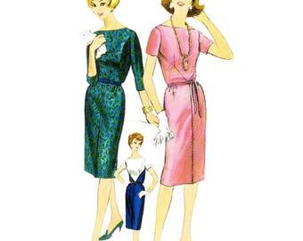 1960s Easy to Make Sheath Dress Pattern Vogue 5241 B34 Sz 14