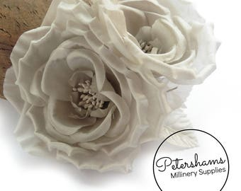 Silk 'Fiona' Double Rose Millinery Fascinator Flower Hat Mount - Pale Grey