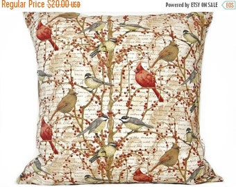 Christmas in July Sale Birds Pillow Cover Cushion Script Cardinals Berries Beige Red Tan Rustic Pillow Decorative 16x16