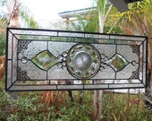 Heisey Colonial Depression Glass Stained Glass Plate Panel, OOAK Handmade Vintage Stained Glass Window Valance, Stained Glass Transom Window