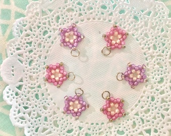 Set of six purple pink small dainty mini stars for embellishing. Zipper pull charms. Mini charms