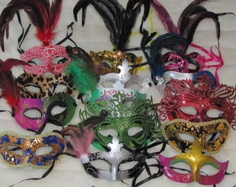 12 piece lot of Mask mardi gras feather masks masquerade party favors centerpieces wedding  sweet 16 quinceanera Fast Free Shipping