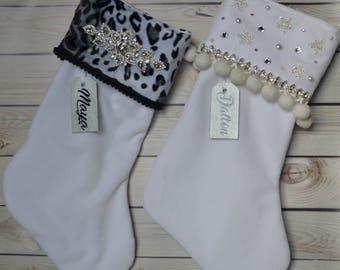 Personalized Christmas Stocking, Bling Stocking, Velvet, Animal Print, Family Stockings, Holiday Stocking, Christmas Decor, White Stocking