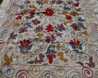 """Beautiful Embroidered  5 ft 7"""" x 4 ft 2"""" Bukhara Throw/Fabric/ Wall hanging.  170 x 127 cm"""