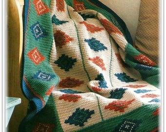 Afghan Pattern - Southwest Navajo Inspired Crochet Pattern - PDF CR734176