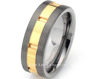 Mens Wedding Band, Tungsten Wedding Ring, Two Tone Mens Ring, Grooved Mens Ring, Mens Tungsten Ring, Yellow Tungsten Wedding Band, Mens Ring