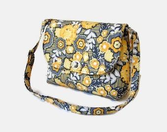 Small Gray and Yellow Fabric Crossbody Bag - Womens Messenger Bag - Twist Lock Closure - Yellow Cross Body Purse - Small Shoulder Bag