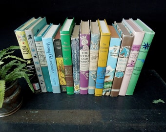 Books by the Foot Youth - Literary Gift - Books for Decor - Juvenile Reading - Classic Novels Books Hardcover Dust Jacket Books by Color