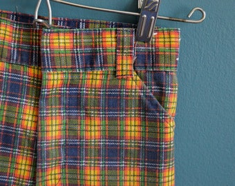 Vintage 1960s 1970s Children's Plaid Shorts by Billy the Kid - Size 7