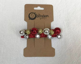 Red Silver and Gold Christmas Ornaments and Bells on Red Back Barrette