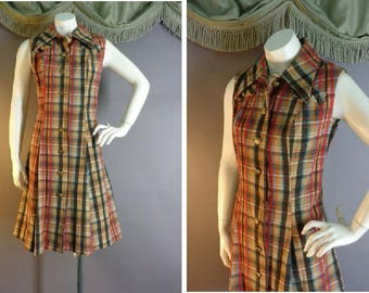 60s dress 1960s vintage RED TURQUOISE BLUE plaid tan woven fit and flare A line Mod dress