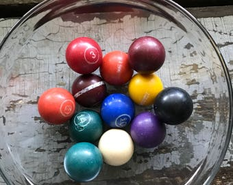 Set of vintage miniature pool balls billiards