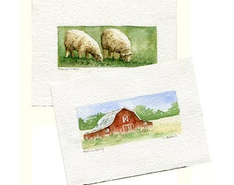Two Original Hand Painted Art Cards - Barn and Sheep
