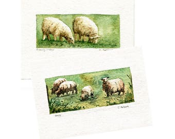 Two Original Hand Painted Sheep Art Cards