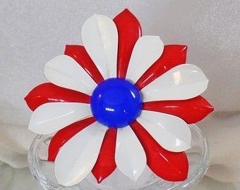 SALE Vintage Large Red White Blue Flower Brooch.   Mod Patriotic Flower Power Pin.  USA Enamel Flower Brooch