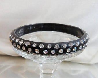 SALE Vintage Lucite Rhinestone Bracelet. Black Lucite Rhinestones Bangle. Early Plastic. 60s Bangle.