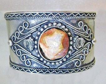 SALE Vintage Silver Plated Agate Cuff Bracelet. Brutalist Silver Agate Cuff.
