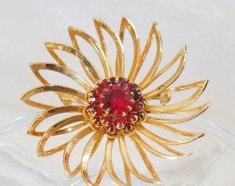 SALE Vintage Deep Burgundy Rhinestone Flower Brooch. Sarah Coventry.  Gold Red Rhinestone Flower Pin.