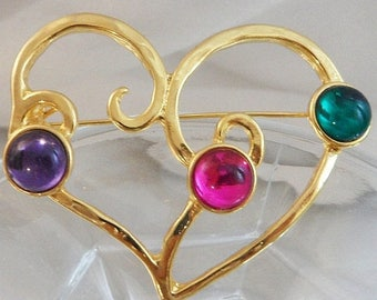 SALE Vintage Open Heart Brooch. Jewel Tone Purple Pink Green Cabochons. Shiny Gold Tone. Freeform.