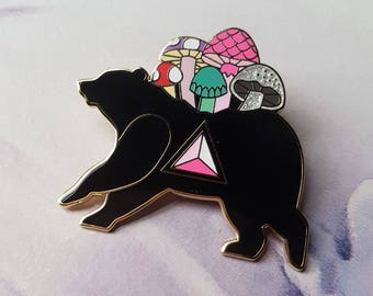 Mushroom Bear - BIG Hard Enamel Pin